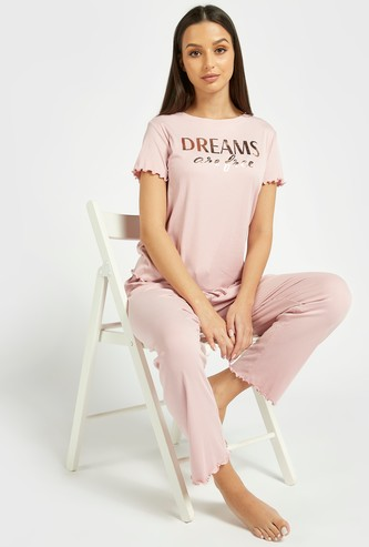 Text Foil Print Short Sleeves T-shirt and Pyjama Set