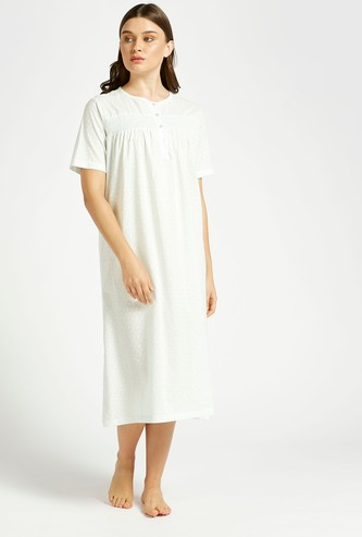 All-Over Print Sleep Dress with Round Neck and Short Sleeves