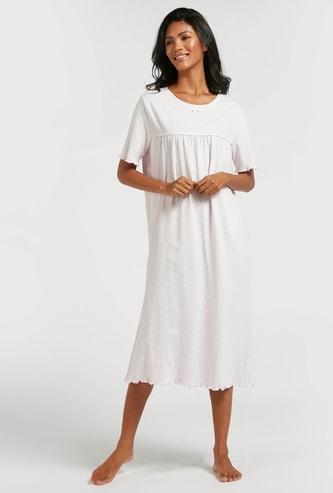 Polka Dot Print Sleepshirt with Short Sleeves and Bow Applique