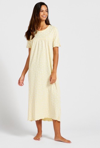 Floral Print Sleep Gown with Round Neck and Short Sleeves