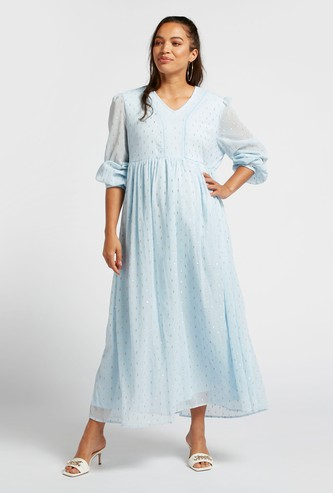 Textured Maxi A-line Maternity Dress with Long Sleeves