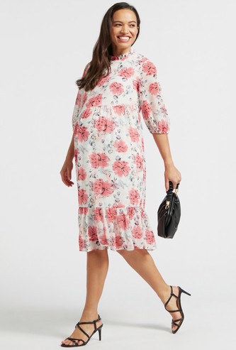 All-Over Floral Print Midi Tiered Maternity Dress with 3/4 Sleeves