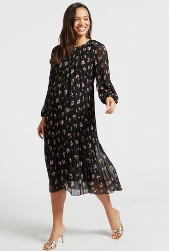 All-Over Floral Print Pleated Midi A-line Maternity Dress