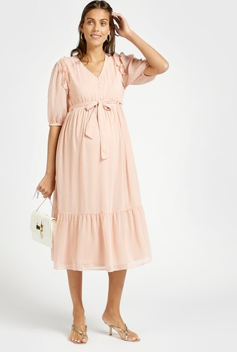 Swiss Dot Print Midi Tiered Dress with Ruffle Sleeves and Tie-Ups
