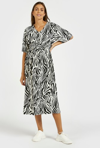 All-Over Printed A-Line Maternity Dress with Button Detail