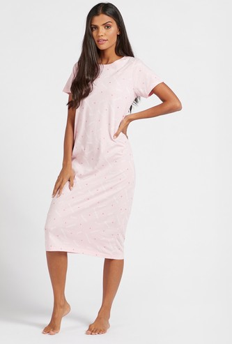 All-Over Text Print Sleep Dress with Round Neck and Short Sleeves