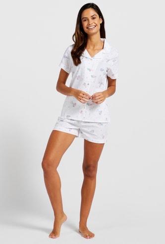Floral-Print Sleep Shirt and Elasticated Shorts Set