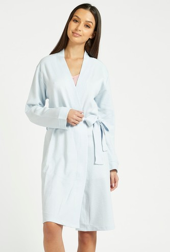 Textured Robe with Long Sleeves and Tie-Ups