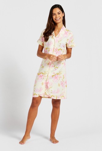 Floral Print Sleepshirt with Short Sleeves and Collar