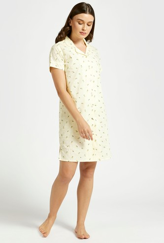 All-Over Printed Sleepshirt with Short Sleeves