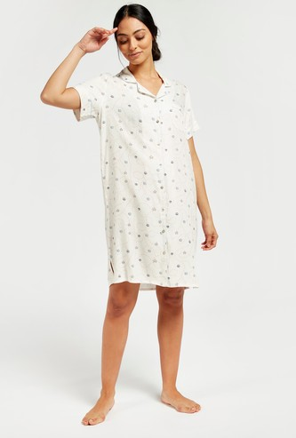 All-Over Print Sleepshirt with V-neck and Short Sleeves