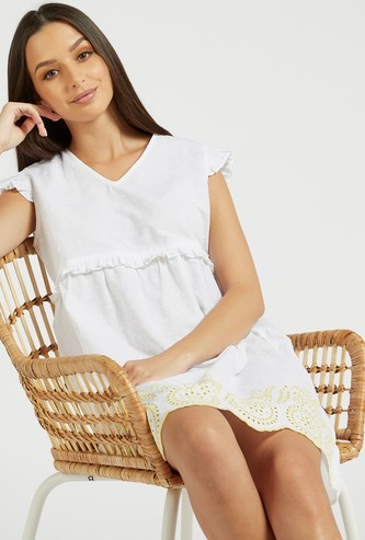 Schiffli Detail Sleep Dress with V-neck and Cap Sleeves