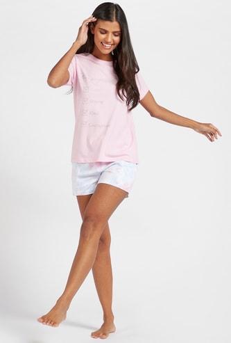 Graphic Print Short Sleeves T-shirt with Shorts Set