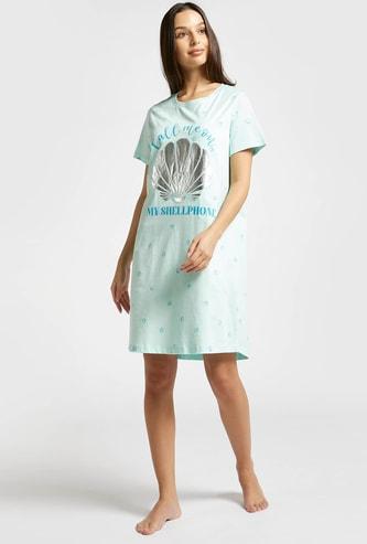 Graphic Print Round Neck Sleepshirt with Short Sleeves