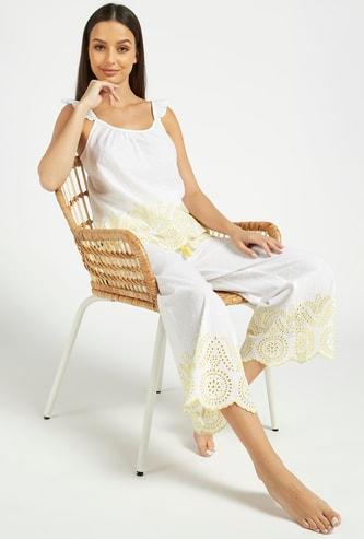 Schiffli Detail Scoop Neck Top and Pyjama Set