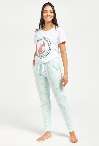 Graphic Print T-shirt with Knot Detail and Jog Pants Set