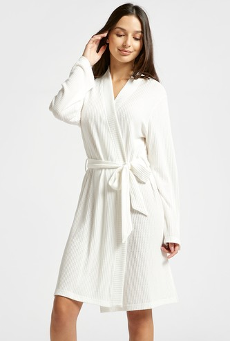 Textured Robe with Long Sleeves and Belt