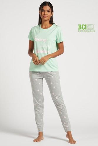 Text Print Short Sleeves T-shirt and All-over Print Pyjama Set