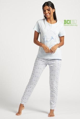 Printed T-shirt with Short Sleeves and Jog Pants Set