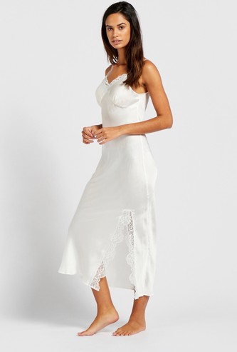 Solid V-neck Sleep Gown with Spaghetti Straps