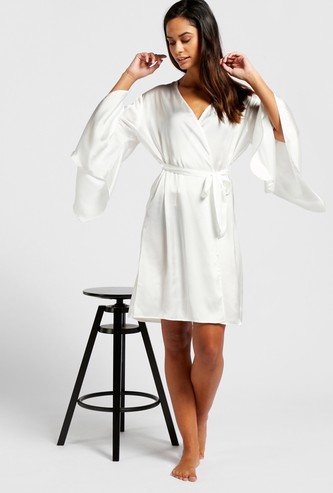 Solid Robe with Long Sleeves and Tie-Ups