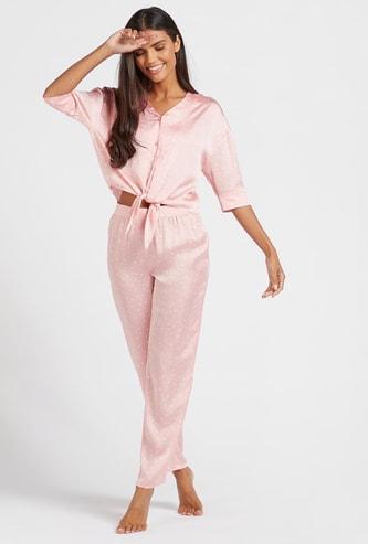 All-Over Scatter Dot Print V-neck Top and Pyjama Set