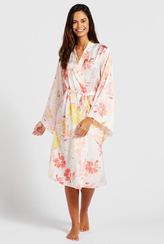 All-Over Floral Print Robe with Flared Sleeves and Tie-Ups