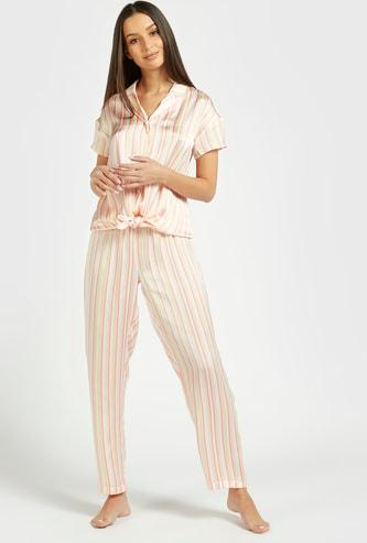 Striped Short Sleeves Sleepshirt with Pyjama Set