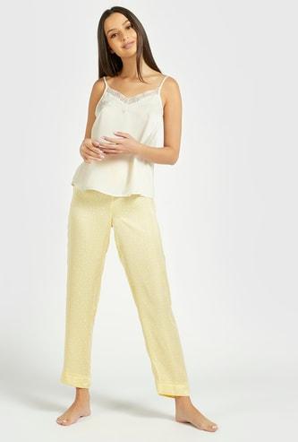 Solid Sleeveless Top and Pyjama Set