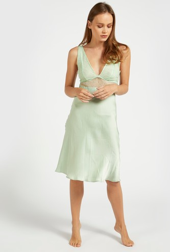 Lace Detail Chemise with V-neck and Adjustable Straps