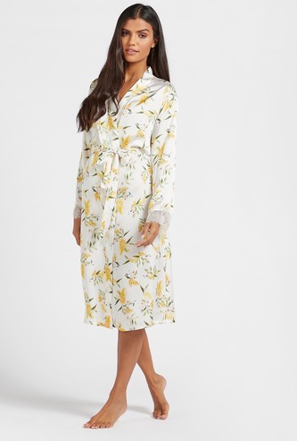 All-Over Floral Print Robe with 3/4 Sleeves and Tie-Ups