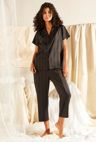 Striped Sleepshirt and Cropped Pyjama Set