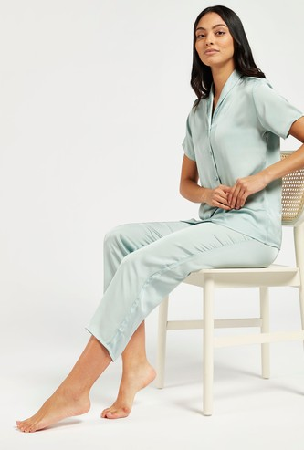 Solid Short Sleeves Sleepshirt and Pyjama Set