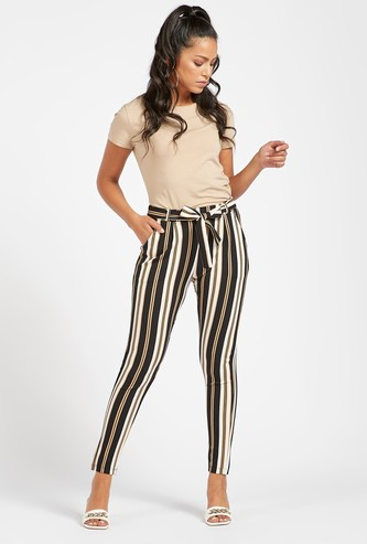 Ankle Length Striped Mid-Rise Pants with Pocket Detail
