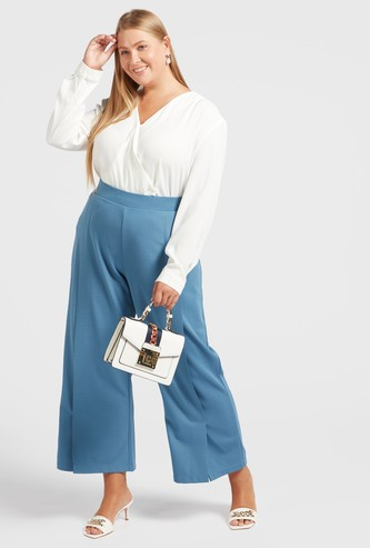 Textured Mid-Rise Palazzo Pants with Elasticised Waistband