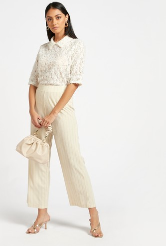 Ankle Length Striped Lurex Mid-Rise Wide Leg Pants