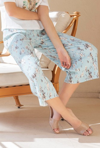 All-Over Floral Print Mid-Rise Culottes with Elasticised Waistband