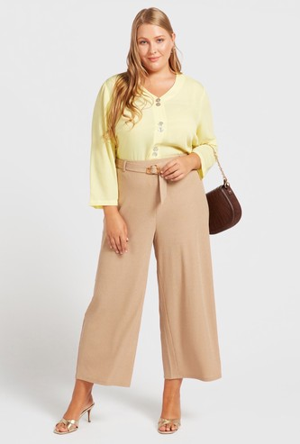 Textured Mid-Rise Culottes with Elasticised Waistband and Belt
