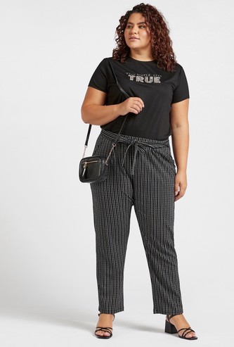 Printed Mid-Rise Harem Pants with Pocket Detail and Tie-Ups