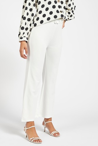 Solid Mid-Rise Wide Leg Pants with Pin Buckle Belt