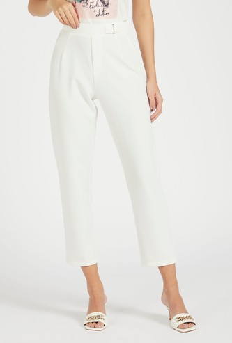 Solid Mid-Rise Cropped Pants with Pockets and Buckle Detail