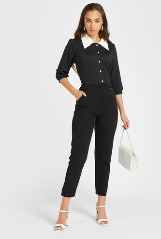 Solid Mid-Rise Ankle-Length Pants with Buckle and Pocket Detail