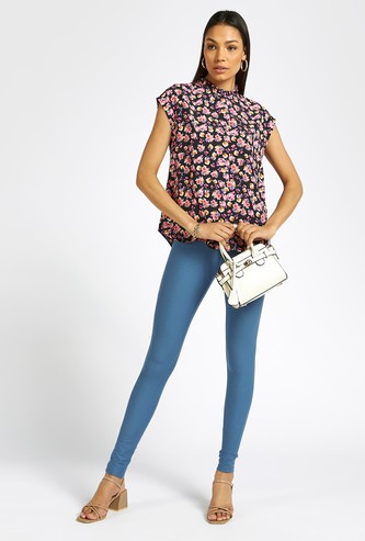 Solid Leggings with Pockets and Belt Loops