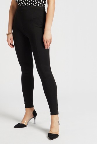 Skinny Fit Solid Mid-Rise Ponte Leggings with Elasticised Waistband