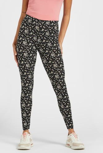 All-Over Print Mid-Rise Leggings with Elasticised Waistband