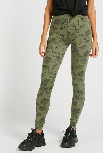 Printed Mid-Rise Full Length Leggings with Elasticised Waistband