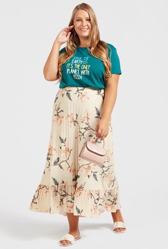All-Over Floral Print Maxi Pleated Skirt with Elasticised Waistband