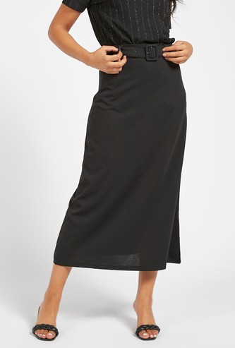 Solid Midi A-line Skirt with Buckle Detail and Elasticised Waistband