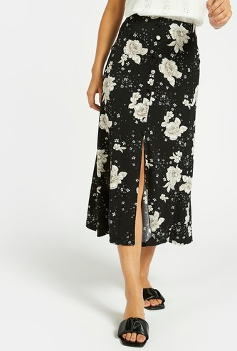 All-Over Floral Print Skirt with Front Slit and Elasticised Waistband