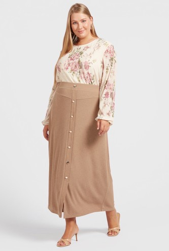 Textured Midi A-Line Skirt with Front Button Detail